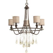 progress lighting flourish 25 875 in 5 light cognac crystal drum chandelier