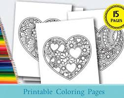 Print and color valentine's day pdf coloring books from primarygames. Heart Coloring Pages Etsy