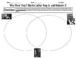 Differences Between Mlk And Malcolm X Venn Diagram Martin Luther King And Malcolm X Venn Diagram Civil Rights Movement