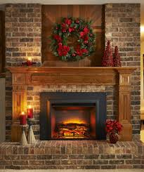 Faux Fireplace Insert Like All Brick Look With The Wooden Trim Home Sweet Home