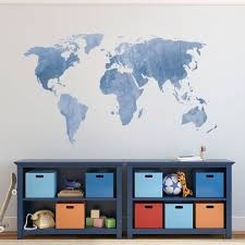 Decalmile World Map Wall Sticker Modern Living Room Wall Decals Art Bedroom Office Home Decor Blue 131 X 75 Cm