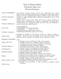 Warehouse Supervisor Resume Sample Warehouse Supervisor Personal