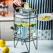1 gallon glass mason jar drink dispenser with leak free spigot on metal stand