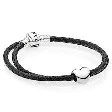 australia picture of pandora black leather bracelet w heart charm 45578 3f8e2