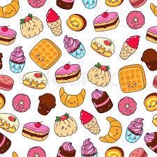 cake pattern wallpaper. Exellent Pattern Set Of Vector Cartoon Doodle Icons Dessert Cake Ice Cream Sweets Food  Illustration Comic Baking Seamless Texture Pattern Wallpaper Background Inside Cake Pattern Wallpaper