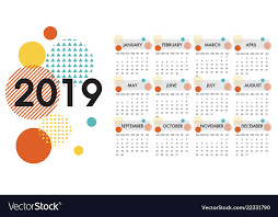 The Year Calendar Calendar For The Year 2019 White Design Royalty Free Vector