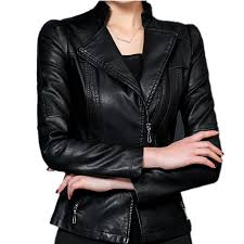 plus size 4xl 5xl women pu leather jacket 2017 spring jackets zipper black faux
