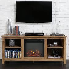 electric fireplace heater tv stand walnut