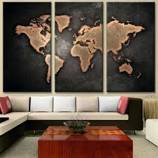 big 3 piece wall art world map oil painting decorative panels canvas prints poster for living canvas prints world map