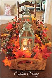 Opulent Cottage Fall Harvest Basket, I love this lantern centerpiece idea