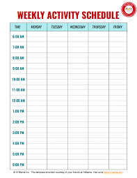 Daily Time Table Daycare Weekly Schedule Template 1 Daily Schedule Template
