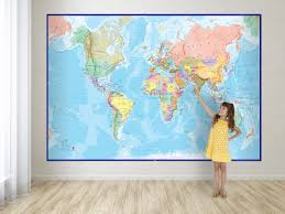 giant world map mural