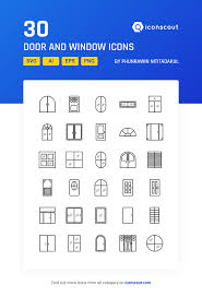 Door And Window Icon Pack 30 Line Icons Tools Construction