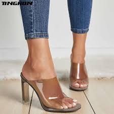 <b>TINGHON Fashion</b> PVC Jelly Sandals Open Toe High Heels ...
