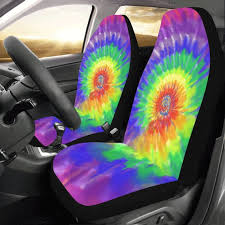 tie dye car seat covers 2 pc colorful