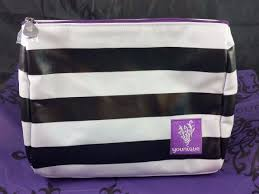 younique striped white black cosmetic makeup bag 2016 collection retired 1 of 1