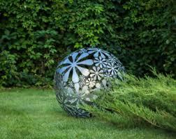 garden sculpture. Hand Welded Metal Garden Sculpture Flower Ball A Unique Artistic Decor In Your Creative /