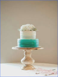 mint ombre wedding cake hydrangea cake topper and custom wooden cake stand by emily