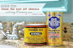 remove rust from chrome in the bathroom