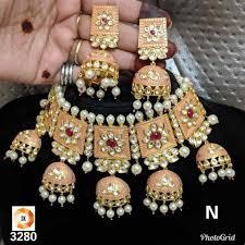 indian bollywood style gold polki kundan bridal wear jewelry set choker plated oawh2285 necklaces pendants