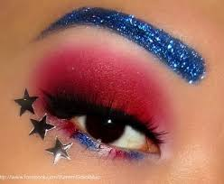4th of july look makeup red white blue eye shadow