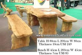 patio dining set with bench natural curve wood table and bench sets outdoor dining table furniture