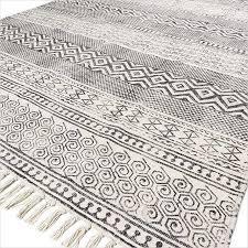 sentinel 5 x 8 ft white black cotton block print area accent dhurrie rug weave boho c