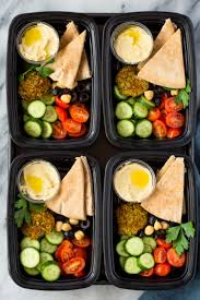Falafel Hummus and Salad Meal-Prep Bento Boxes | Gimme Delicious