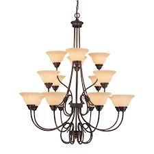 Millennium Lighting Fulton 46-in 16-Light Rubbed bronze Mediterranean Scavo  Glass Tiered Chandelier