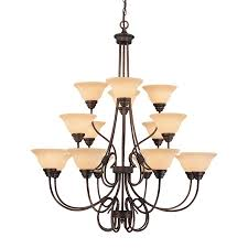 millennium lighting fulton 46 in 16 light rubbed bronze mediterranean scavo glass tiered chandelier