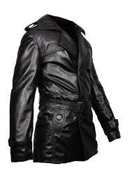 sputer mystique mens black leather pu faux trench coat