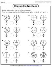 Fractions From Least To Greatest Chart Comparing Ordering Fractions Worksheets