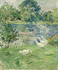 berthe morisot girl in a boat with geese ca 1889