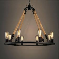 rope and iron chandelier retro hemp rope chandelier loft style 6 8 lights country vintage wrought