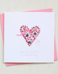 Heart Mothers Day Card Hand Embroidered Design