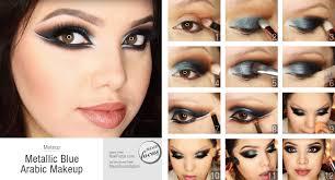 metallic blue arabic makeup