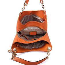 michael kors fulton large leather shoulder bag orange