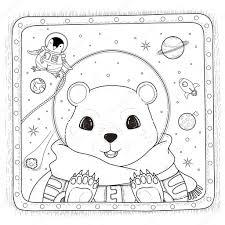 Ijsbeer Astronaut Kleurplaat Stockvector Kchungtw 103773298