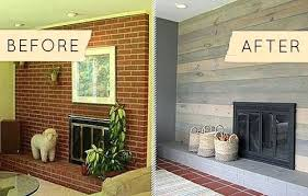 painted brick fireplace before and after fireplace before after painted brick fireplace with wood mantel