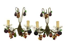 pair antique french chandelier wall sconces multi color glass fullxfull fruit light candle watt led designer