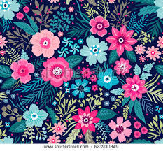 colorful flower patterns. Unique Colorful Amazing Seamless Floral Pattern With Bright Colorful Flowers And Leaves On  A Dark Blue Background On Colorful Flower Patterns R