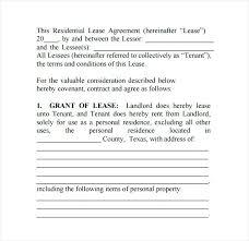 Sample House Lease Agreement Rental Form Free Printable Texas ...