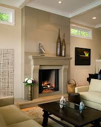 modern grey interior fireplace ideas that can be applied inside the modern living room design ideas with wooden table inside make it seems grat design