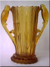 brockwitz art deco amber glass fruit bowl with bird handles designed by freidrich