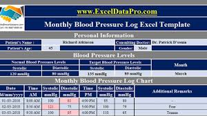Download Monthly Blood Pressure Log With Charts Excel