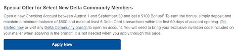 Expried Ga Only Delta Community Credit Union 100 Checking Bonus