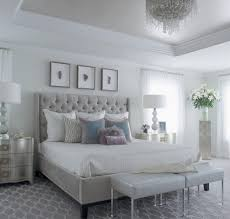 Modern Glam Bedroom Tall Headboard Beds Bedroom Transitional With Mirrored Dresser