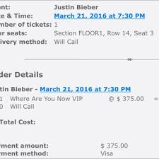 Justin Bieber Floor Seat At The Staples Center Do Not Buy