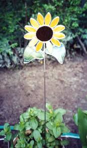 glass garden stakes sunflower stake by pat stained art flower
