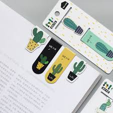 <b>Cute Cactus Magnetic Bookmarks</b> Paper Clip Fridge Stickers School ...